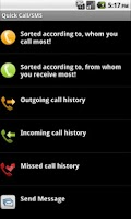 Screenshot of Quick Call/SMS