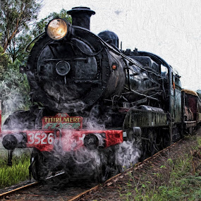 Thirlmere Fly by Anthony Rutter - Transportation Trains ( train tracks, festival of steam, vintage, train, thirlmere flyer, black, steam,  )