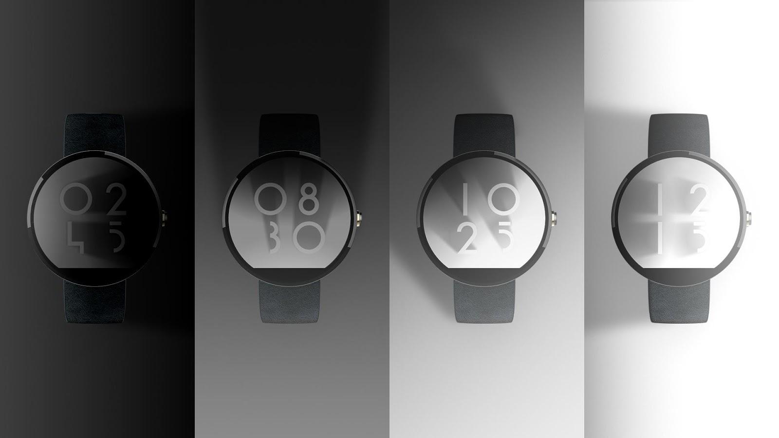 Designer android wear watchface - Shadow Clock Watch Face Screenshot