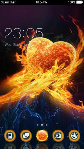 Burning Heart C Launcher Theme