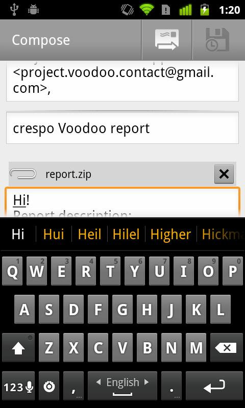 Voodoo Report- screenshot