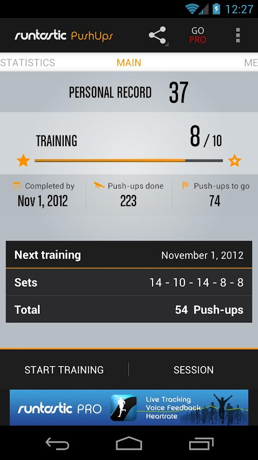 Runtastic Push-Ups Trainer- screenshot