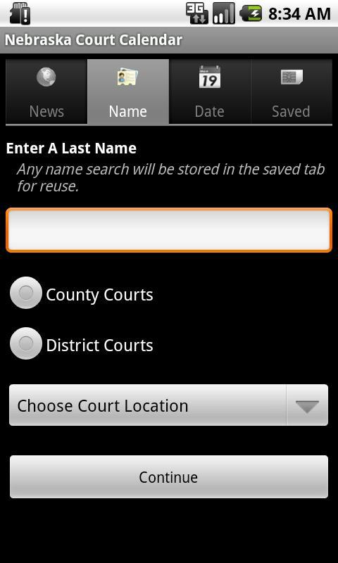 Nebraska Court Calendar Search- screenshot