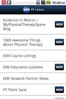 Screenshot of EIM PT Mobile