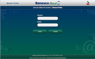 Screenshot of Banesco Móvil Tablet