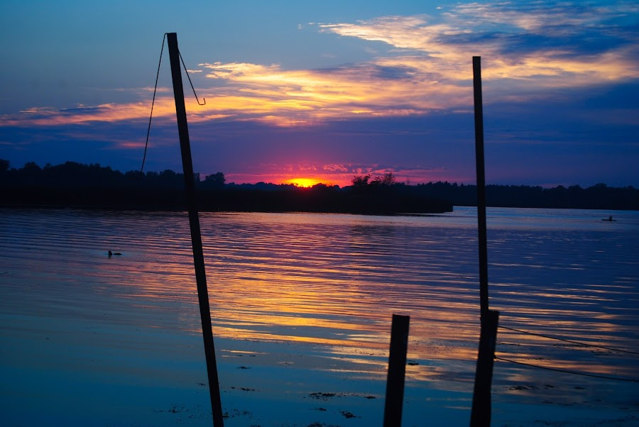 by Heather Donahue - Landscapes Sunsets & Sunrises ( water, sky, bay, sunset, dock )