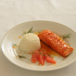 Salmon Fillet with Citrus Butter and Maple Syrup.