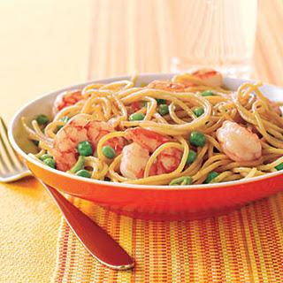 Stir-Fried Noodles with Shrimp and Peas.