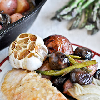 Springtime Honey Garlic Roast Chicken Skillet.