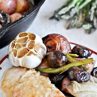 Springtime Honey Garlic Roast Chicken Skillet.