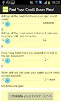 Screenshot of Find Credit Score Calculator