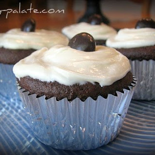 Chocolate Fudge Jr Mint Centered Cupcakes.
