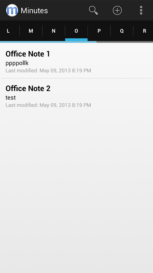 Minutes Text Notes + Sync - screenshot