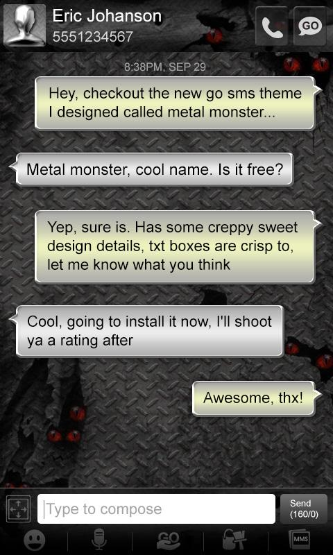Metal Monster Go SMS Pro Theme- screenshot