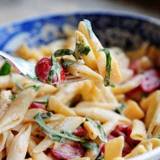 Spicy Pasta Salad with Smoked Gouda, Tomatoes, and Basil.