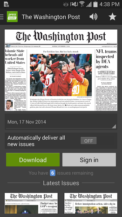 PressReader (preinstalled)- screenshot