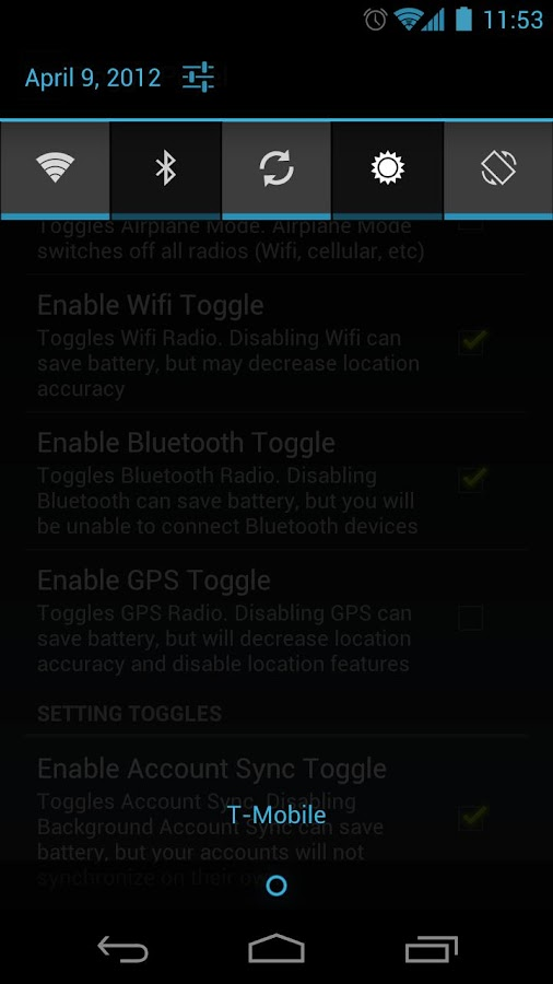 TogglePanel - screenshot
