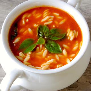 Tomato Spinach Orzo Soup.