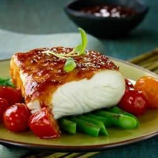 Glazed Fish with Roasted Asparagus and Cherry Tomatoes.