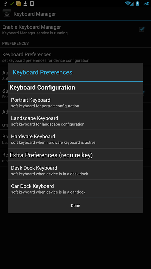 Keyboard Manager (root users) - screenshot