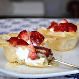 Greek Yogurt and Strawberry Phyllo Cups.