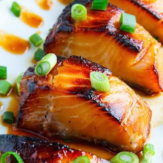 Miso Glazed Black Cod on Baby Bok Choy and Shiitake Mushrooms.