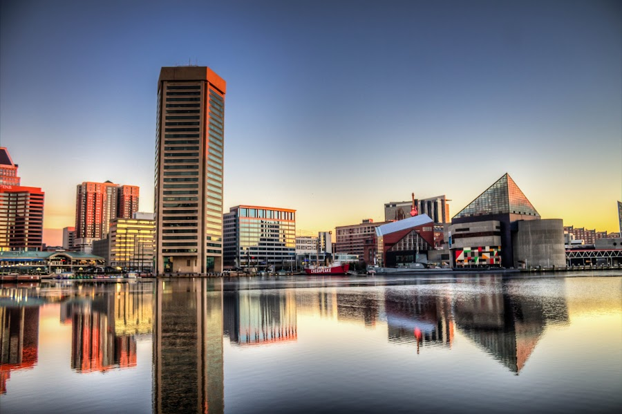 Baltimore Reflections by Geoff Lawrence - City,  Street & Park  Skylines ( hdr, federal hill, baltimore, reflections, sunrise )