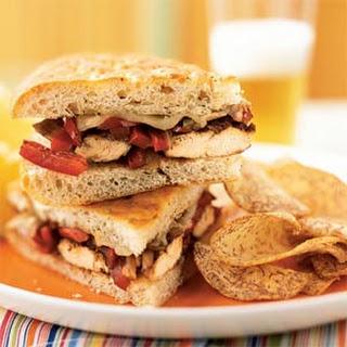 Balsamic-Glazed Chicken and Bell Pepper Sandwiches.