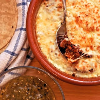 Mexican 'Fondue' with Chorizo and Tomatillo Salsa.