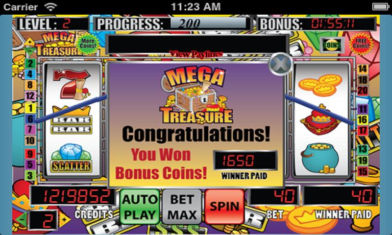 Mega Treasure Slot Machine - screenshot