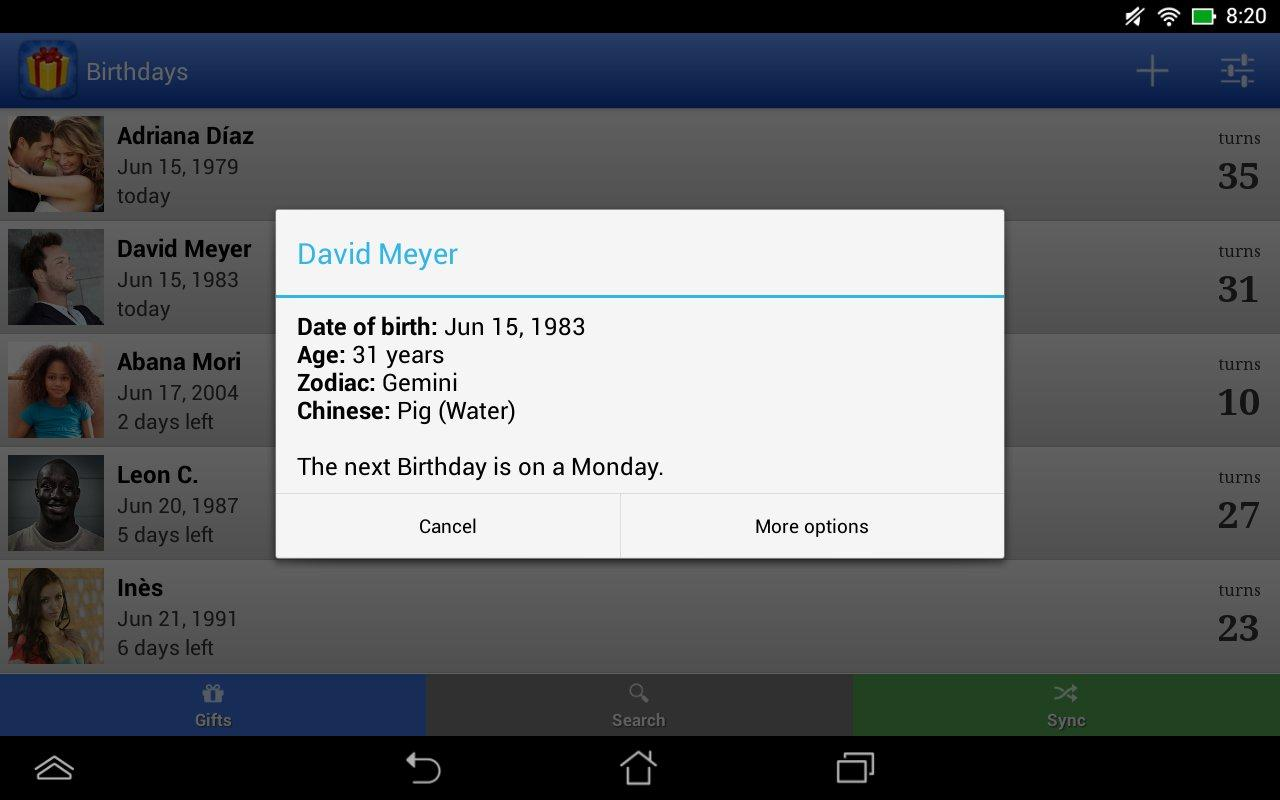 Birthdays for Android- screenshot