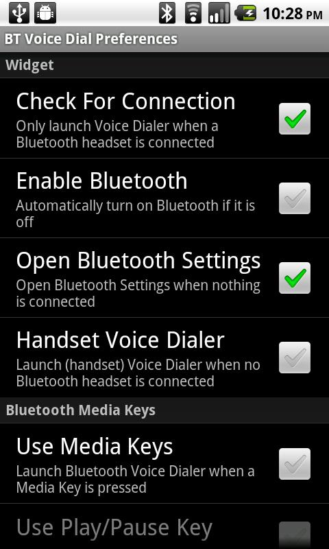 Bluetooth Voice Dial Widget - screenshot