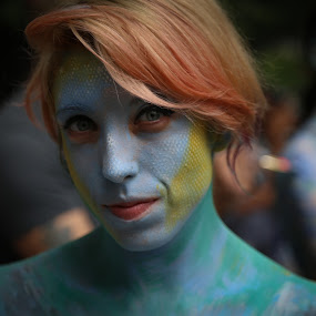 Painted Face by VAM Photography - People Street & Candids ( cities, woman, body art, paint, nyc, artist, person, people, tattoo )
