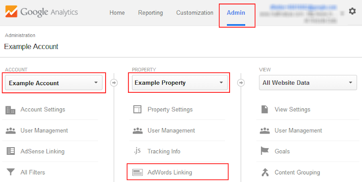 screenshot of admin user interface navigation