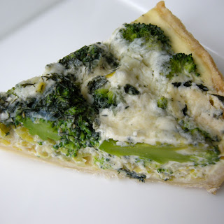Broccoli, Blue Cheese And Leek Quiche.