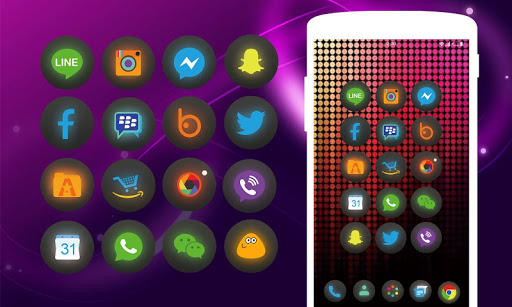 Neon Theme - Icon pack HD