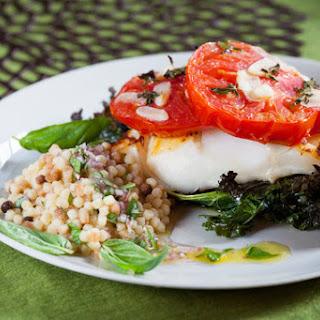 Cod with Crispy Kale, Roasted Tomato & Fregola Sarda.