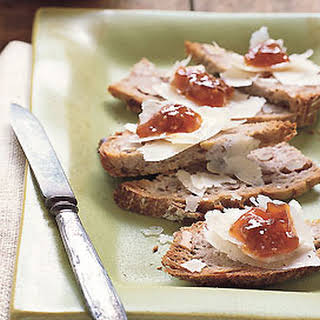 Walnut Toasts with Fig Jam and Manchego Cheese.