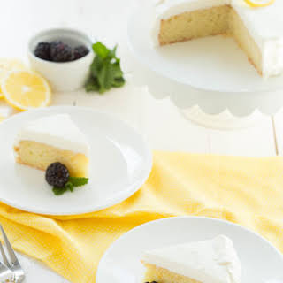 Lemon Cake with White Chocolate Mousse Frosting.