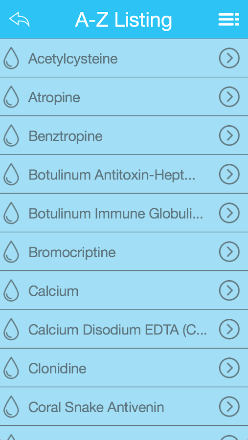 ACEP Toxicology Antidote App- screenshot
