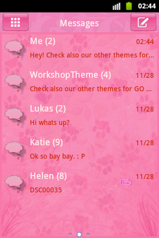 Pink 2 GO SMS PRO Theme Buy