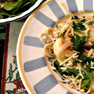 Lemony Shrimp with Arugula and Gluten Free Pasta.