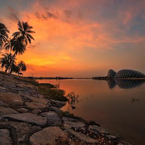 Marina Bay Sunrise by Kafoor Sammil - Landscapes Sunsets & Sunrises ( marina bay sunrise, singapore )