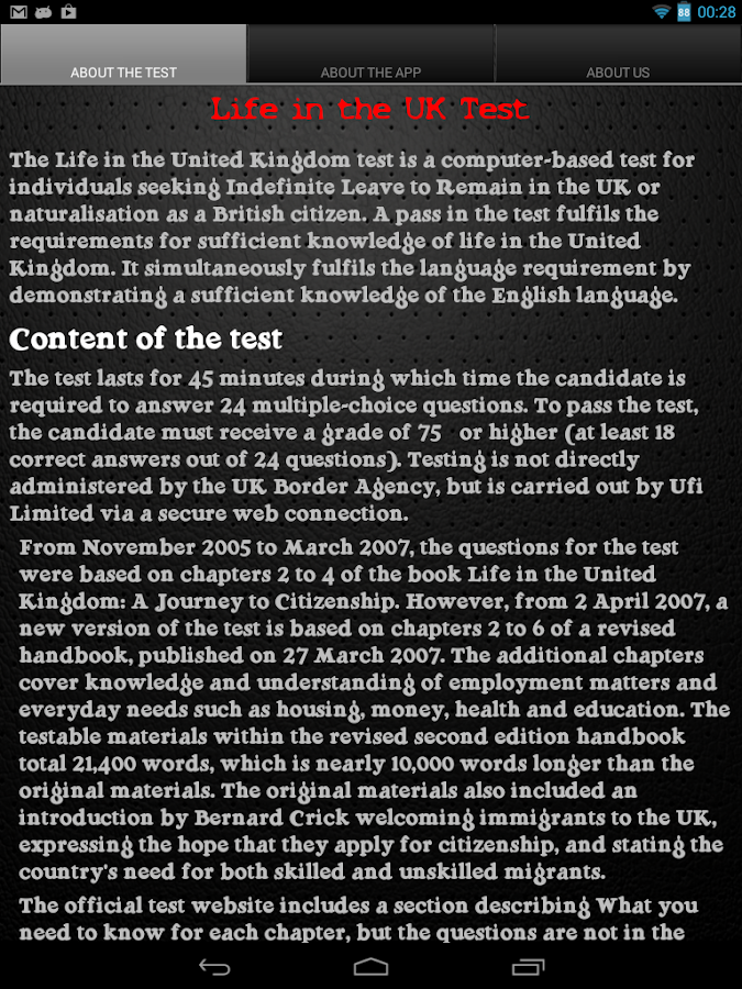 Life in the UK Test - screenshot