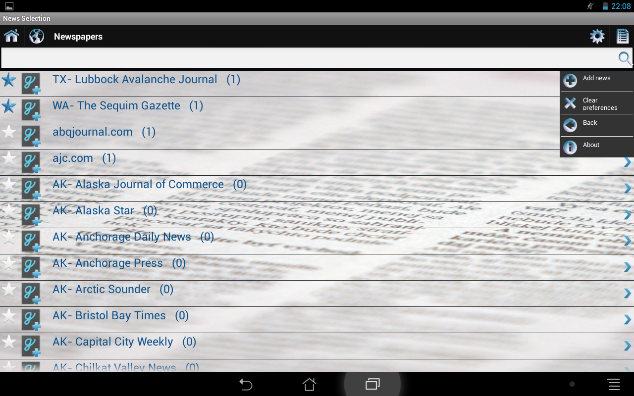 News Selection Newspapers - screenshot
