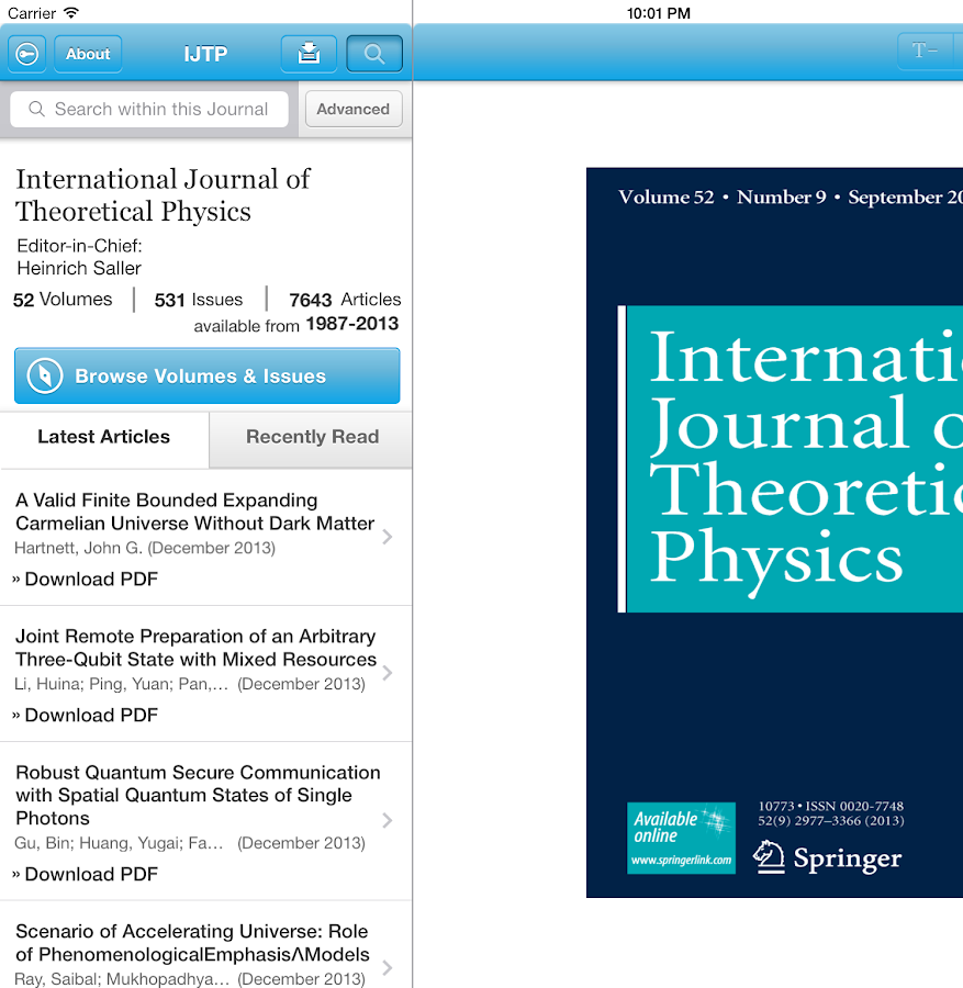 Intl J of Theoretical Physics- screenshot
