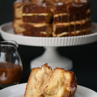 Salted Caramel Apple Custard Cake