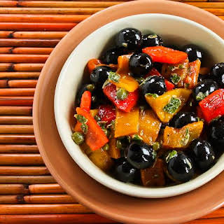 Tapas Salad with Grilled Bell Peppers, Olives, and Capers.