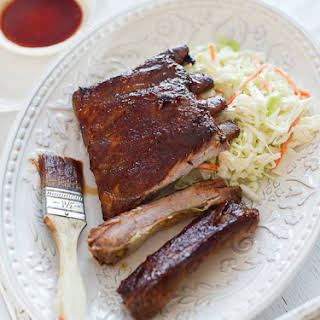 Bourbon-Maple Glazed Pork Ribs.
