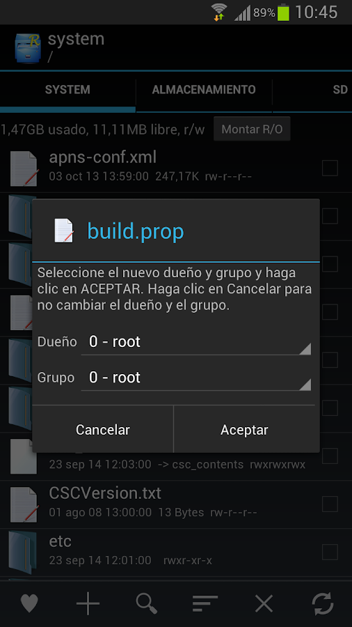 Root Explorer: captura de pantalla